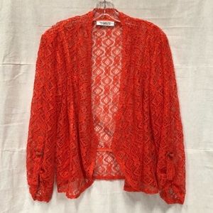 Sheer Lace Mesh Knit Cardigan Jacket Fire Red